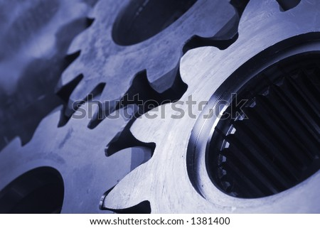 three gears, cogs in blue - stock photo