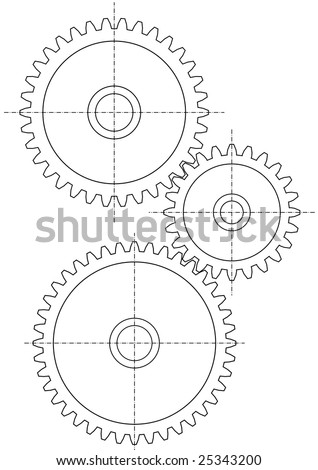 Three gears on white background - stock photo