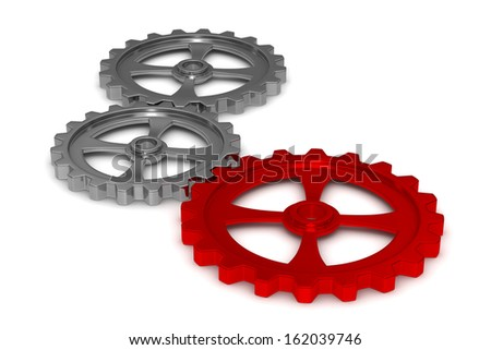 Three gears on white background. Isolated 3D image - stock photo