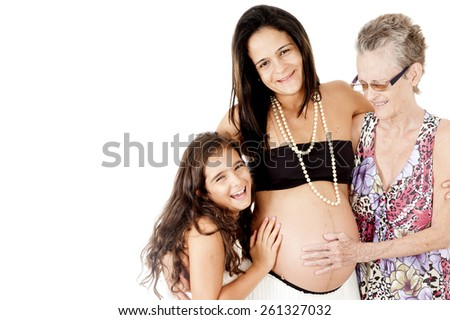 Three generations of girls - grandmother, mother and daughter - stock photo