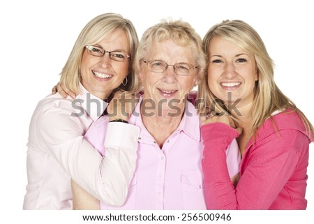 Three generations of women in a family isolated on white. - stock photo