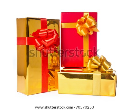 Three gift boxes isolated on white background with clipping path. - stock photo