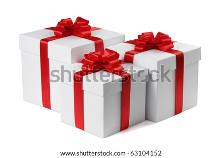 Three gifts with ribbons end bows isolated on the white background, clipping path included. - stock photo