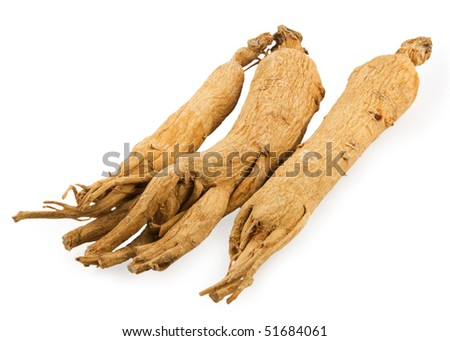 Three ginseng roots on white background