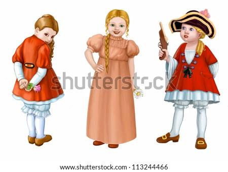 Three girlish costume - stock photo