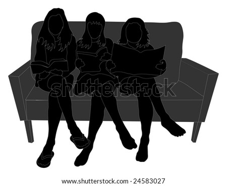 Three girls sitting on a couch reading - stock photo