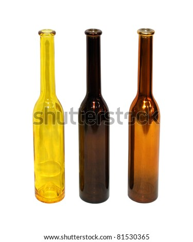 Three glass decorative bottles with clipping path included