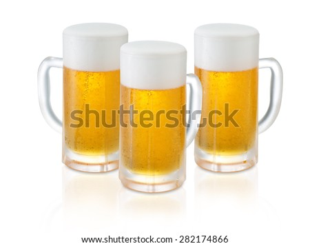 Three glass of Fresh Beer with Foam and Bubbles on white background
