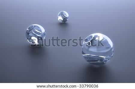Three glass spheres - stock photo