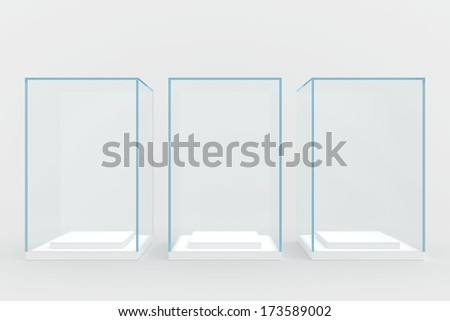 three glass windows covered with glass. isolated on gray background - stock photo