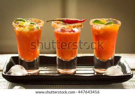 Three glasses of gazpacho