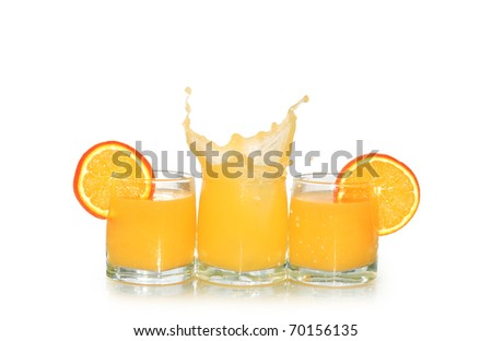 Three glasses of orange juice and fruits isolated on white background with clipping path
