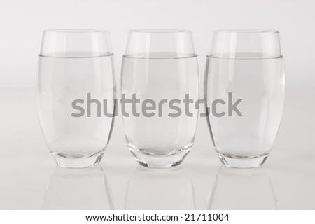 Three glasses of water - stock photo