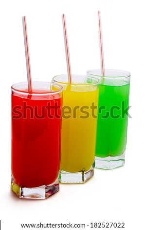 three glasses with fruit juice