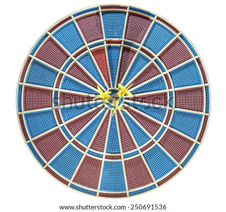 Three goals blurred in eye of dartboard isolated - stock photo