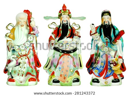 Three gods of the Chinese, Fu Lu Shou. (Hock Lok Siew), isolated in white