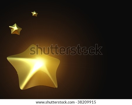 Three gold stars on a black background. With copy space.
