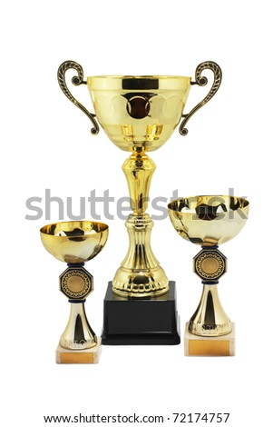 Three gold trophies, isolated on white