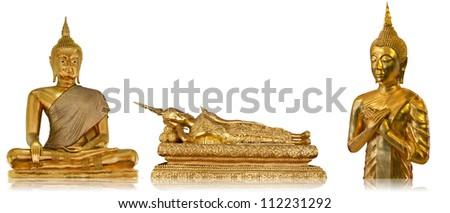 Three Golden Buddha with Isolated - stock photo
