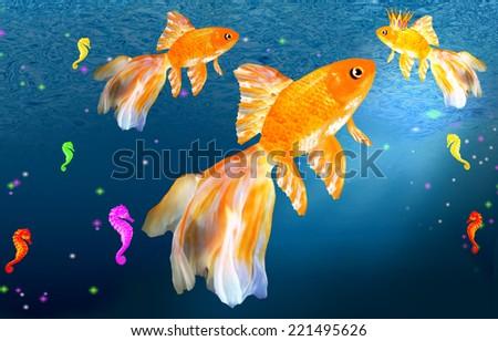 Three goldfish and seahorses underwater - stock photo
