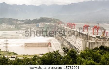 Three Gorges Dam in China, on the Yangtze River.  Aerial View. - stock photo