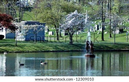 Three Grace's-Statue Forest Lawn-Buffalo,New York-landmark - stock photo
