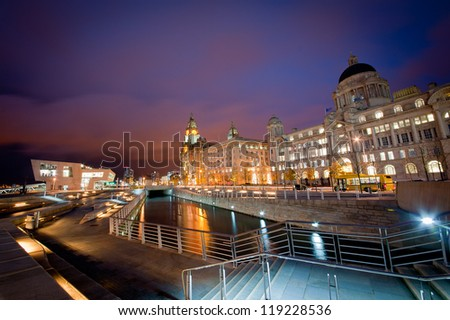 Three Graces by Night, Liverpool - stock photo
