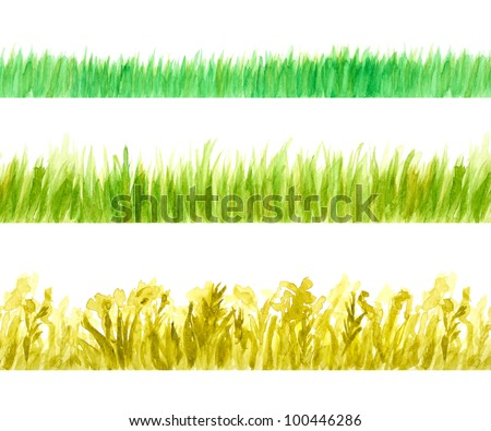 Three Grass Seamless Border Watercolor Hand Drawn and Painted, Isolated on White Background - stock photo