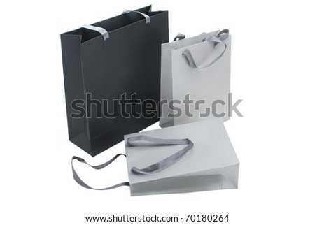 three gray package on a white background - stock photo
