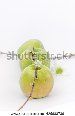 three green apples with white flowers on white background - stock photo