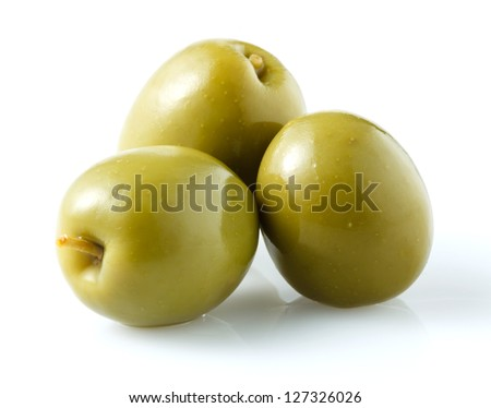 three green olives isolated on white - stock photo