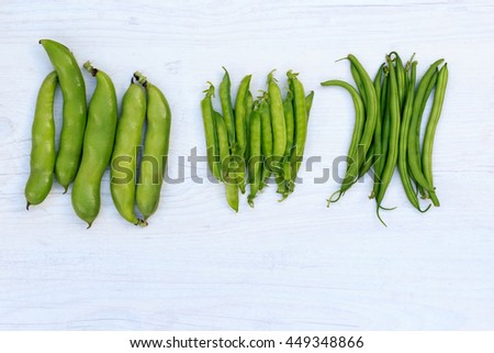 Three groups of legumes: broad beans, green peas and French bean, top view - stock photo