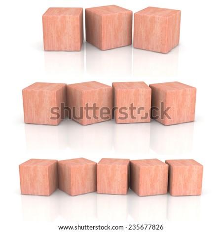 three groups of wood cubes on white background. - stock photo