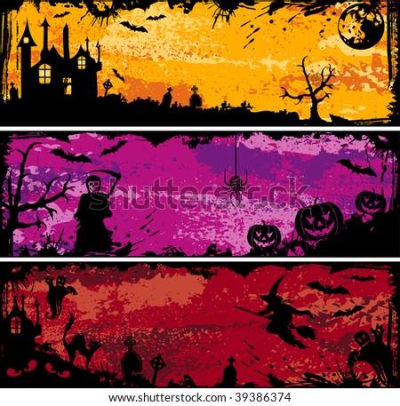 Three grunge Halloween frame with bat, pumpkin, witch, ghost, element for design, illustration - stock photo
