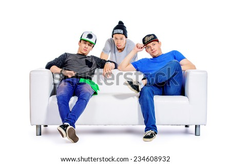 Three guys friends spend time together. Different emotions. Isolated over white. - stock photo