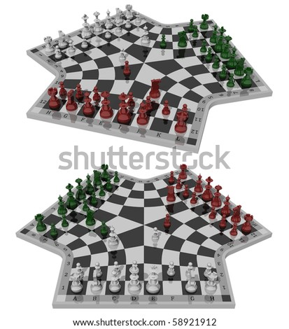 Three-handed chess, two views - stock photo