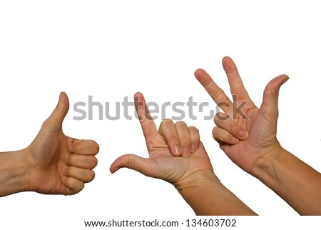 three hands counting one, two, three, isolated on white - stock photo