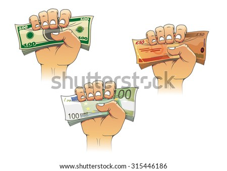 Three hands grasping money with dollar, euro and pound banknotes, cartoon illustration, for business concept design - stock photo