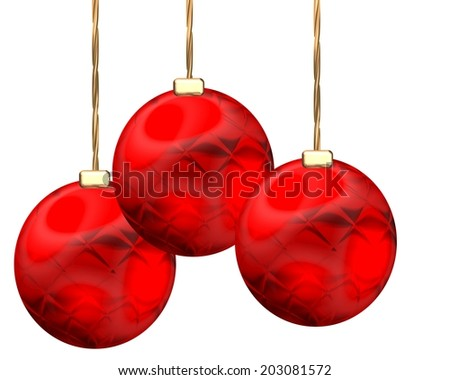 Three hanging Christmas baubles - stock photo
