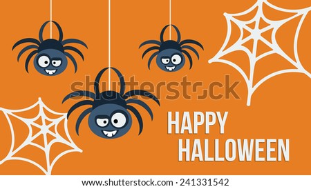 Three hanging cute spiders. Happy Halloween invitation card.  Template design. Illustration. - stock photo