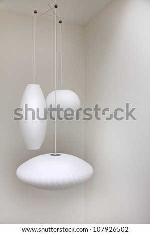 Three hanging retro lights - design interior - stock photo