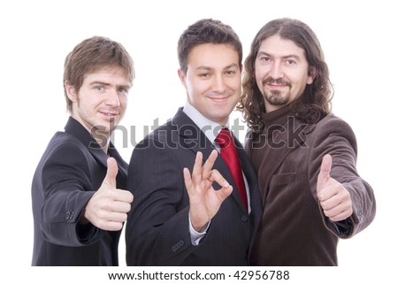 three happy business men together as a team tumb up - stock photo