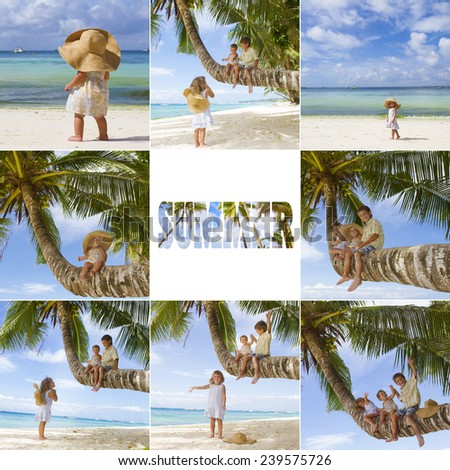 three happy children on tropical sea, beach and sky background set, collection, collage, summer vacation - stock photo