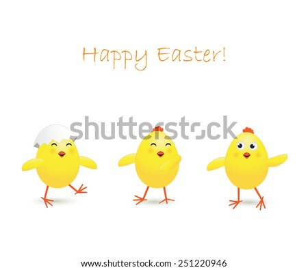 Three happy Easter chicken on white background, illustration - stock photo
