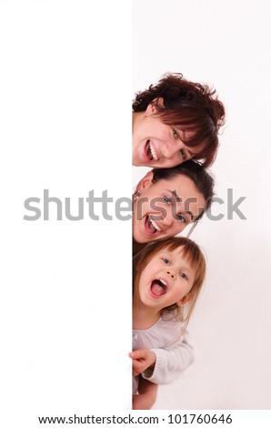 Three happy girls - stock photo
