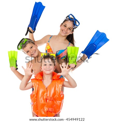 Three happy kids in diving mask standing together, isolated on white - stock photo