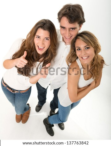 Three happy young friends high angle view - stock photo