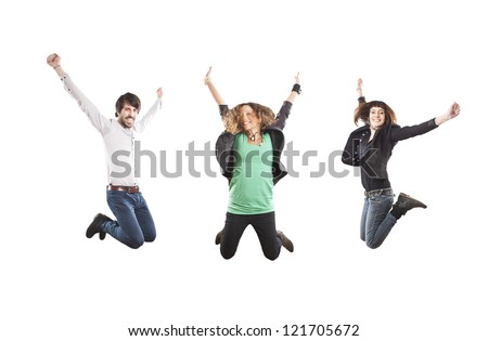 three happy young people jumping - stock photo