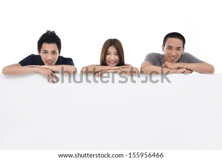 Three head over empty board - stock photo