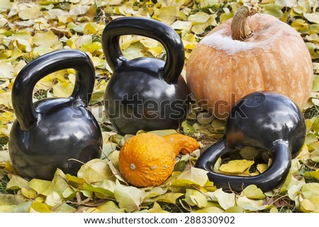 three heavy iron  kettlebells outdoors in a fall scenery  with pumpkin and squash - outdoor fitness concept - stock photo